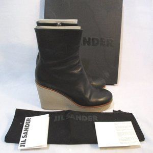 JIL SANDER Leather WEDGE Heel Bootie Ankle Boot